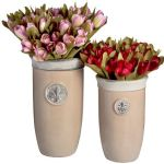 Set of 2 Dark Cream Ceramic Fleur de Lys Tall Planters Plant Flower Pot Garden